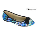 Women′s Printed Fabric Flat Casual Ballet Shoes