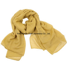Lady Fashion Voile Cotton Scarf with Solid Colorful