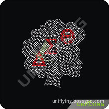 Rhinestone Transfer Afro Lady Motif Greek Aeo (kk)