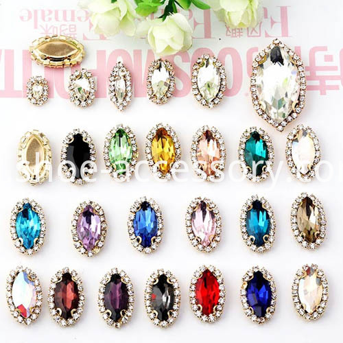 Fashion Sew on Rhinestones Setting Navette Shape color standard