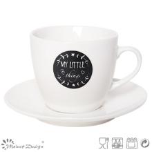 Blanco y negro New Bone China Tea Cup & Saucer