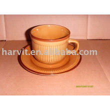 220cc Pure Colored & Decal Stoneware Coffee Cups & Saucers