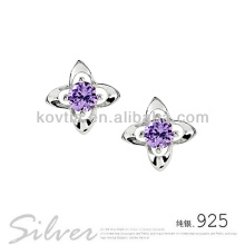 925 bijoux en argent sterling améthyste boucles d'oreilles en fleurs jolies filles robes de fête