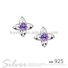 925 prata esterlina jóias ametista flor brincos brincos menina bonita vestidos de festa