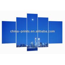 Skyline, grupo, pintura, cinco, painel