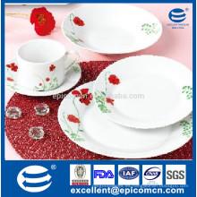 2015 para el mercado de Kuwait 20pcs redondo nuevo diseño de lujo flor roja cena de cerámica conjunto