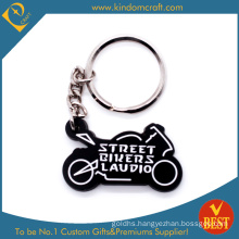 Die Casting Promotional Motorcycle Shape 3 D PVC Key Chain in Black with High Quality