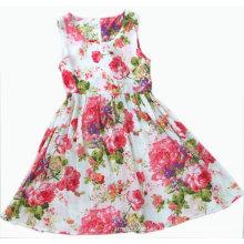 Vestido de niña de flores para ropa de niños (SQD-113-Sandía rojo)