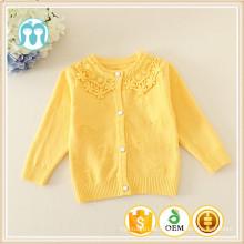 Neue gelbe Pullover Designs für Kinder Computer Gestrickt / Wolle Pullover Design für Mädchen / Kinder bestickt Pullover Mode