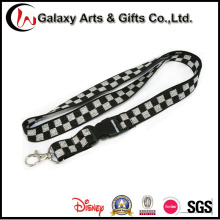 Custom Promotion Single Polyester Black and White Elastic Cord Lanyard