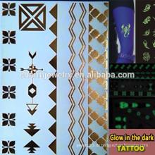 OEM Großhandel Glühen in der dunklen Tattoo Mode Marken temporäre Tattoo Aufkleber für Erwachsene GLIS008