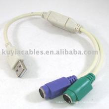 USB PS / 2 cabo adaptador para teclado de computador e mose