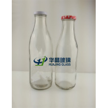 750ml 1000ml Empty Transparent Glass Milk Bottles with Metal Caps