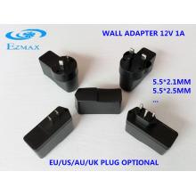 12V 1A todos os tipos de fichas Adaptador de parede CCTV fonte de alimentação