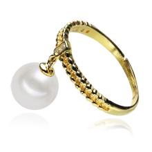 Dangle Drop Gold überzogener Silber kultivierter preiswerter Perlen-Ring
