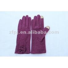 Invierno de la señora uso iphone guantes lana cuero