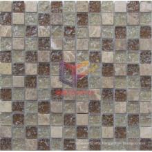 Light Emperador Stone Mix Cracked Glass Mosaic (CC151)