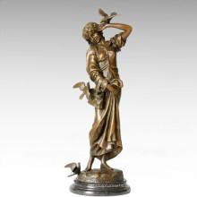 Klassische Figur Statue Carrier Taube Dame Bronze Skulptur TPE-276