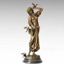 Statuette classique Statue Carrier Pigeon Lady Bronze Sculpture TPE-276
