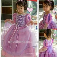 Square Long Sleeve Organza Lace Up Encerramento Ball Gown Andar Comprimento Vestido de casamento Flower Girl Gown