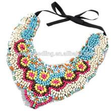 Europeus e americanos de moda estilo boêmio étnico colar colar de pérolas de madeira