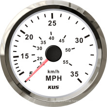 Kus Gauges 85mm Speedometer 0-35mph White Faceplate 316 Stainless Steel Bezel for The Boat Yacht Marine