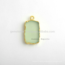 Handmade Micron Gold Plated Sterling Silver Bezel Connector and Charm Natural Best Quality Green Chalcedony Gemstone Bezel Charm