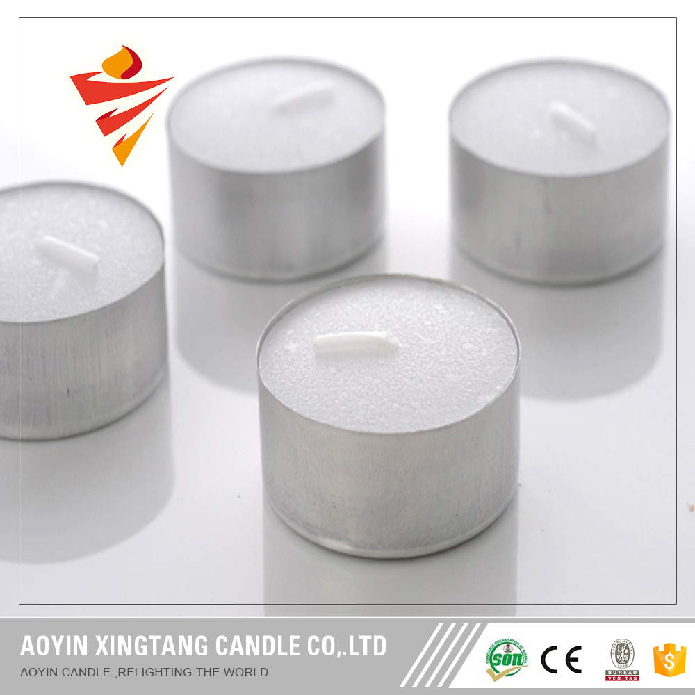 Vela de tealight de color blanco de cera de soya