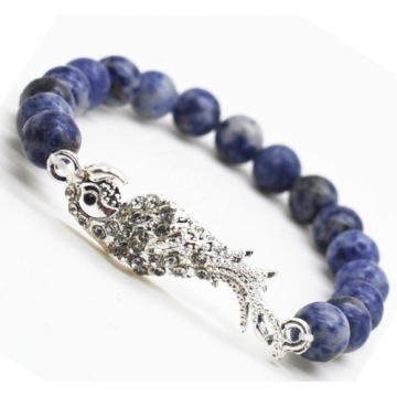 Sodalite Gemstone Bracelet with Diamante alloy parrot Piece