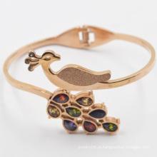 Moda design pavão rosa ouro banhado em aço inoxidável bracelete