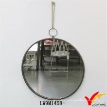 Antigo vintage rodada handmade espelho de parede de metal para decoração de casa