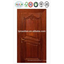 Revêtement de porte HDF avec placage, papier mélaminé ou primaire blanc