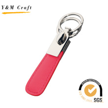 Custom Special High Quality Red PU Leather Metal Key Ring
