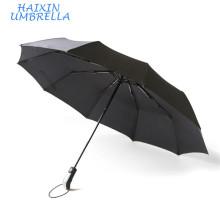 Promotion personnalisée des articles-cadeaux de promotion de couleur noire coupe-vent 3 parapluie automatique de pli avec l'impression de logo
