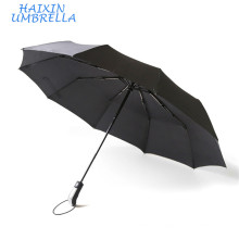 Customized Marketing Gift Items Promotion Black color windproof 3 Fold Auto Umbrella with Logo Printing