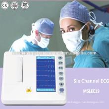 Günstige Digital-Elektrokardiographie-ECG-Maschine (6 Kanäle)