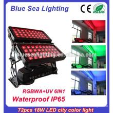 Super 72pcs 18w 6 em 1 rgbwauv ip65 impermeável iluminação exterior