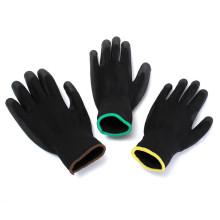Los guantes de trabajo de la seguridad industrial revestidos palma de nylon de la PU del negro del mejor precio respirable