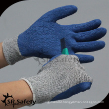 SRSAFETY crinkle latex palm coated HPPE cut resistant work gloves