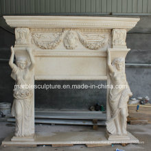 Beautiful Lady Statue Carved Marble Fireplace (SY-MF199)