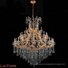 Gran tamaño de lujo ámbar crystal maria theresa araña para hotel candelabro de vela 85525