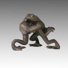 Animal Estatua Pequeña 2 Ranas Escultura De Bronce Tpal-047