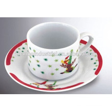 Ceramic porcelain coffee cup and saucer with carton design