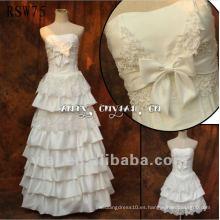 RSW75 Vestido de boda lujoso del tafetán de las perlas del envío libre