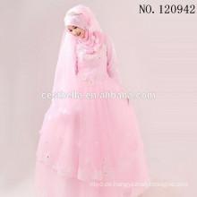 2016 arabisches Saudi-arabisches langes Hülsen-Hochzeits-Kleid-hohes Ansatz-moslemisches Brauthochzeits-Kleid