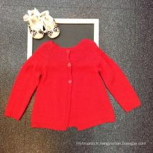 cardigans rouge nouveau design filles pull modèle cardigan tricot en gros enfants cardigan rose foncé de stock