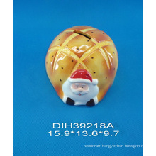 Hand-Painted Ceramic Santa Coin Bank