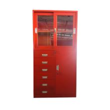 Armoire coulissante en acier avec porte en verre et tiroirs