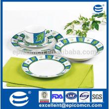 kitchenware New Bone China manufacture with green gracious pattern