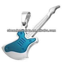 Fashion wholesale jewelry Men's Stainless Steel Blue Electric Guitar Pendant Necklace